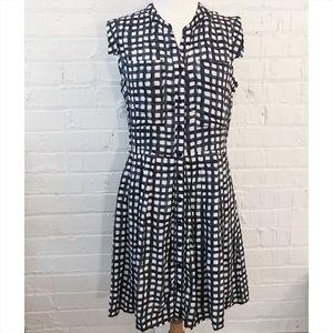 Anthropologie Tylho gray/white windowpane dress M